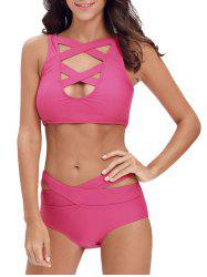 Criss Cross Bandage Cropped Bikini Set - ROSE MADDER S