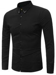 Embroidery Turndown Collar Long Sleeve Shirt - BLACK 3XL