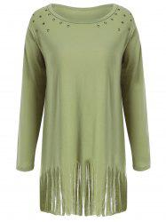 Fringed Eyelet Longline Plus Size Top -