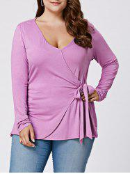 Plus Size Long Sleeve Front Knot Draped Top
