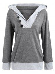 V Neck Color Block Button Embellished Hoodie - DEEP GRAY M