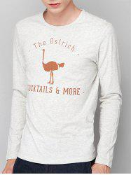 Ostrich Graphic Print Long Sleeve T-shirt -