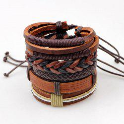 Faux Leather Vintage Layered Bracelets Set - BROWN