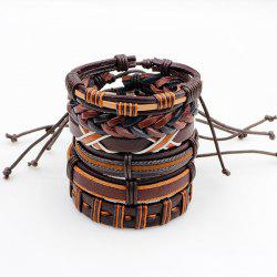 Artificial Leather Woven Retro Friendship Bracelets Set - BROWN