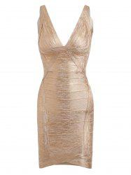 Bronzing V Neck Club Bandage Dress -