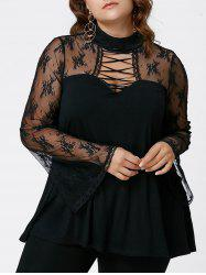 Plus Size Criss Cross See Thru Flare Sleeve Blouse - BLACK