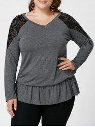 Plus Size V Neck Lace Trim Top