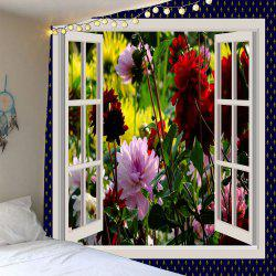 Waterproof 3D Faux Window Flowers Printed Wall Tapestry