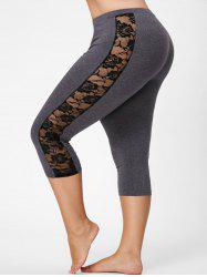Mesh Panel Lace Plus Size Cropped Leggings - GRAY