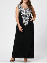 Plus Size Printed Maxi Tank Dress