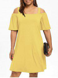 Robe Grande Taille Manches 1/2 Épaules Nues - Jaune 3XL