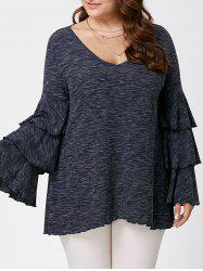 Plus Size Layered Flare Sleeve Top