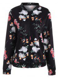 Floral Long Sleeve Zip Up Jacket - BLACK