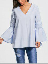 V Neck Tunic Blouse with Flare Sleeve - CLOUDY