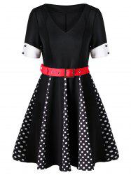 Polka Dot V Neck Swing Dress