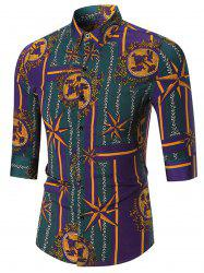 Three Quarter Sleeve Star Printed Shirt - COLORMIX 2XL