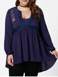 High Low Lace Insert Plus Size Tunic Blouse