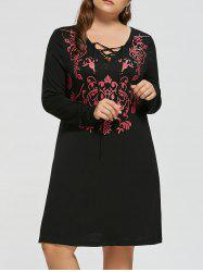Lace Up Floral Plus Size Dress
