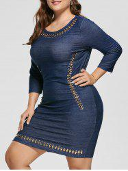 Plus Size Embellished Stretchy Fitted Dress