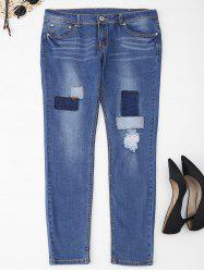 Plus Size Patch Frayed Jeans -