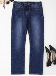 Plus Size Five Pockets Straight Jeans