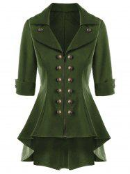 Manteau Trench Double Breasted High Low Flare - Vert Armée 2XL