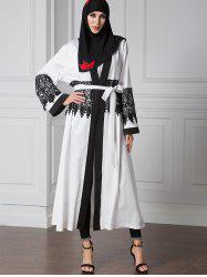 Lace Trim Two Tone Belted Cardigan -