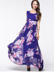 Floral Lace Up Chiffon Maxi Dress -