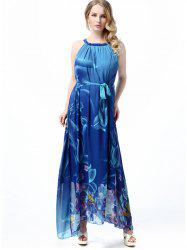 Belted Floral A Line Maxi Dress -