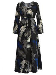 Tropical Belted Long Sleeve Maxi Dress -