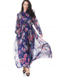 Floral Half Buttoned Long Sleeve Maxi Dress - FLORAL L