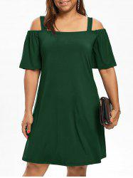 Cold Shoulder Half Sleeve Plus Size Dress -