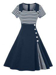 Vintage Buttoned Stripe Pin Up Dress -