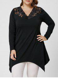 Asymmetirc Lace Trim Long Sleeve Plus Size Tee -
