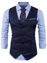 Single Breasted V Neck Back Belt Waistcoat -