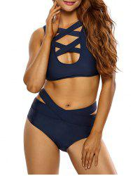 Criss Cross Bandage Cropped Bikini Set -