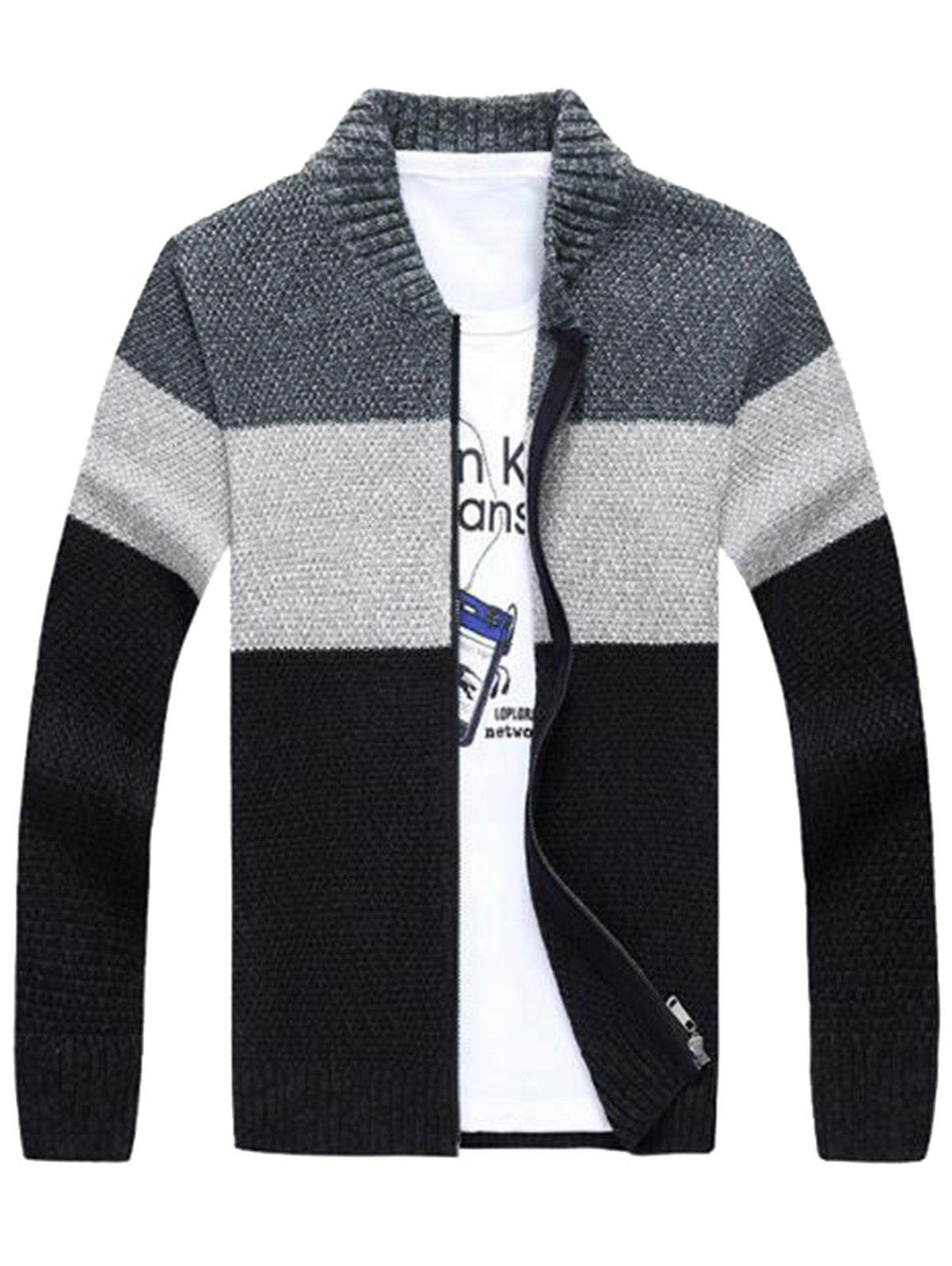 Cheap Stand Collar Color Block Sweater Cardigan