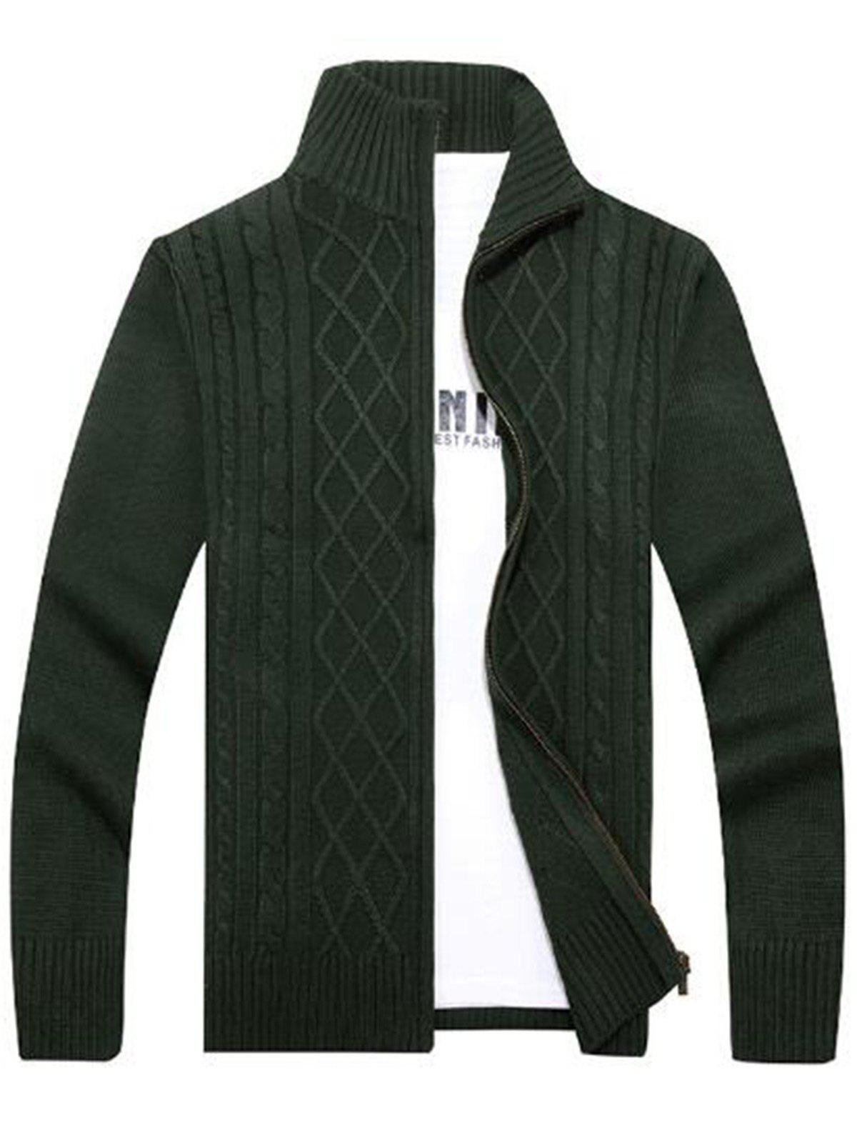 Fancy High Neck Cable Knit Sweater Cardigan