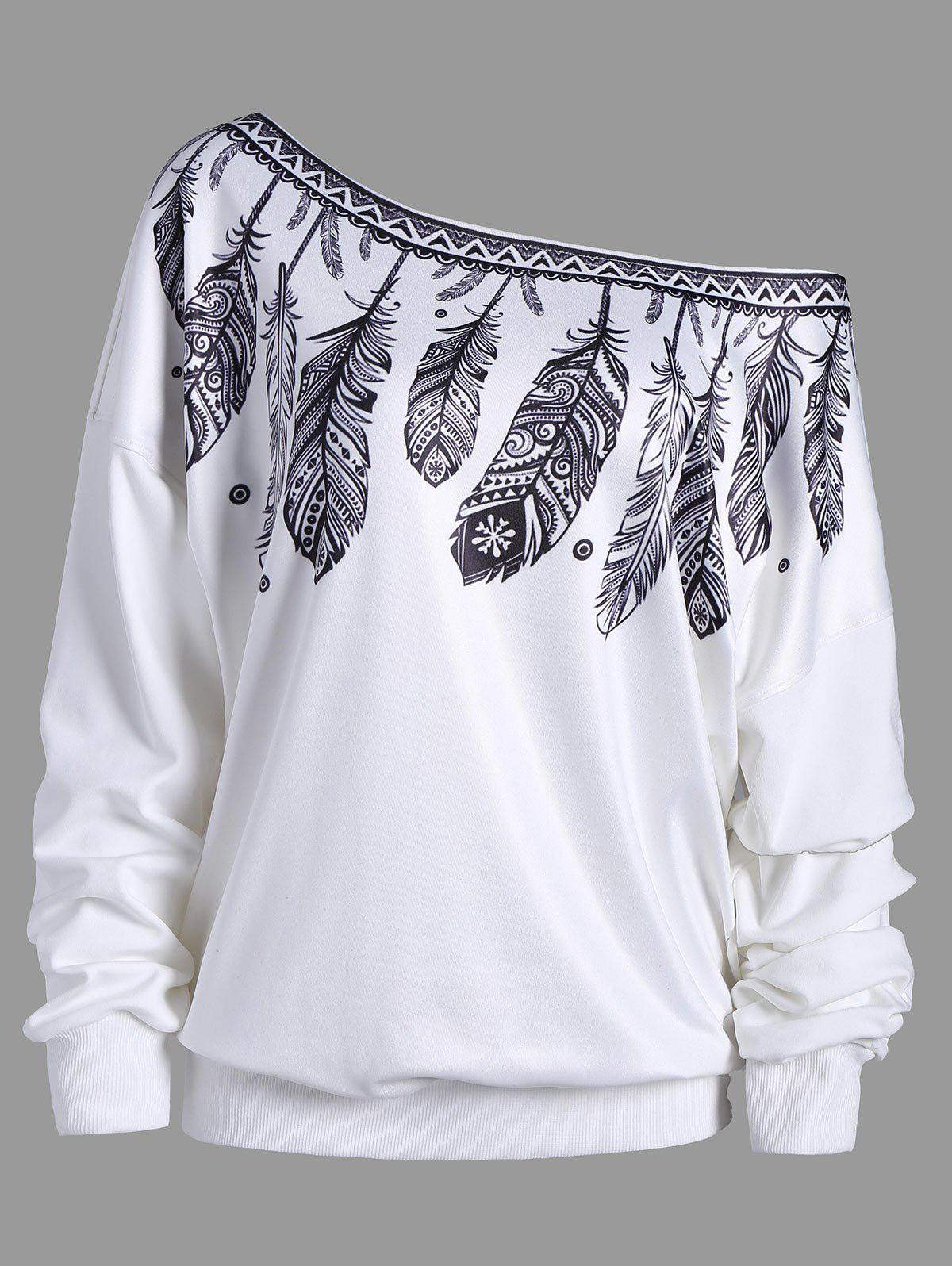 Drop Shoulder Feather Print Skew Neck SweatshirtWOMEN<br><br>Size: XL; Color: WHITE; Material: Polyester; Shirt Length: Regular; Sleeve Length: Full; Style: Fashion; Pattern Style: Feather; Season: Fall; Weight: 0.4500kg; Package Contents: 1 x Sweatshirt;