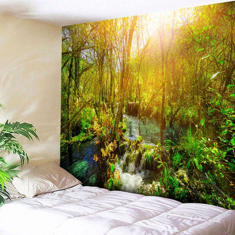 Wall Hanging Sunshine Forest Bedroom TapestryHOME<br><br>Size: W91 INCH * L71 INCH; Color: COLORMIX; Style: Natural; Theme: Landscape; Material: Polyester; Feature: Removable,Washable; Shape/Pattern: Forest,Print; Weight: 0.3950kg; Package Contents: 1 x Tapestry;
