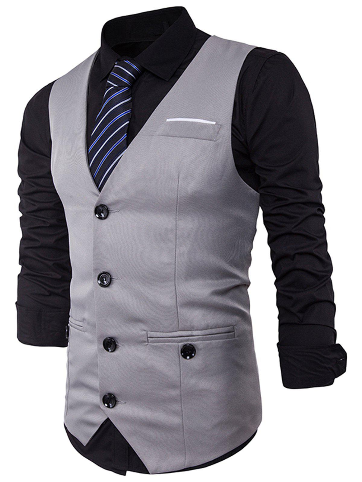 Hot Single Breasted V Neck Back Belt Waistcoat