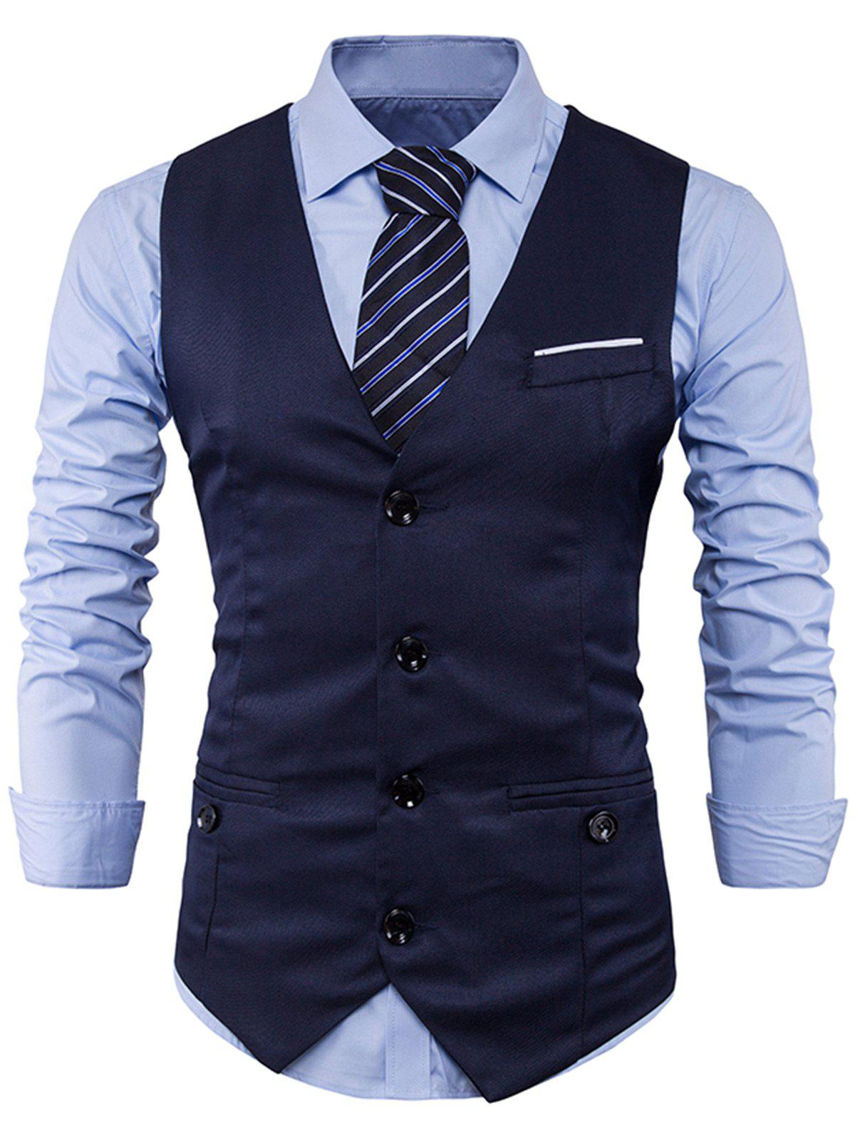 Store Single Breasted V Neck Back Belt Waistcoat