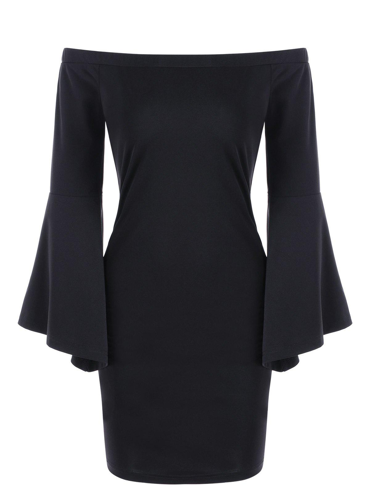 Off Shoulder Flare Sleeve Sheath DressWOMEN<br><br>Size: L; Color: BLACK; Style: Brief; Material: Polyester,Spandex; Silhouette: Sheath; Dresses Length: Mini; Neckline: Off The Shoulder; Sleeve Length: Long Sleeves; Pattern Type: Solid Color; With Belt: No; Season: Fall,Spring,Summer; Weight: 0.3100kg; Package Contents: 1 x Dress; Occasion: Casual,Club,Evening,Formal,Homecoming,Night Out,Pageant Dresses,Prom,Semi Formal;