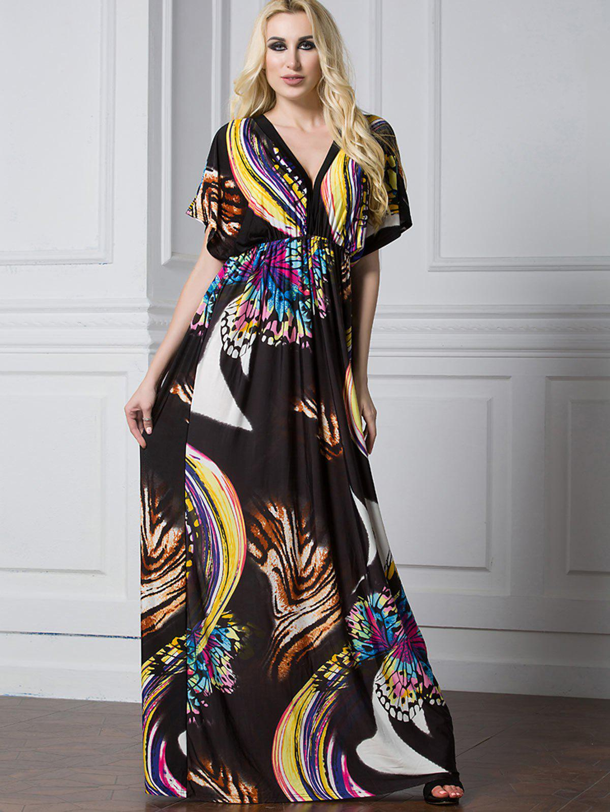 2ad4f44fef87 79% OFF] Butterfly Batwing Sleeve Maxi Dress | Rosegal