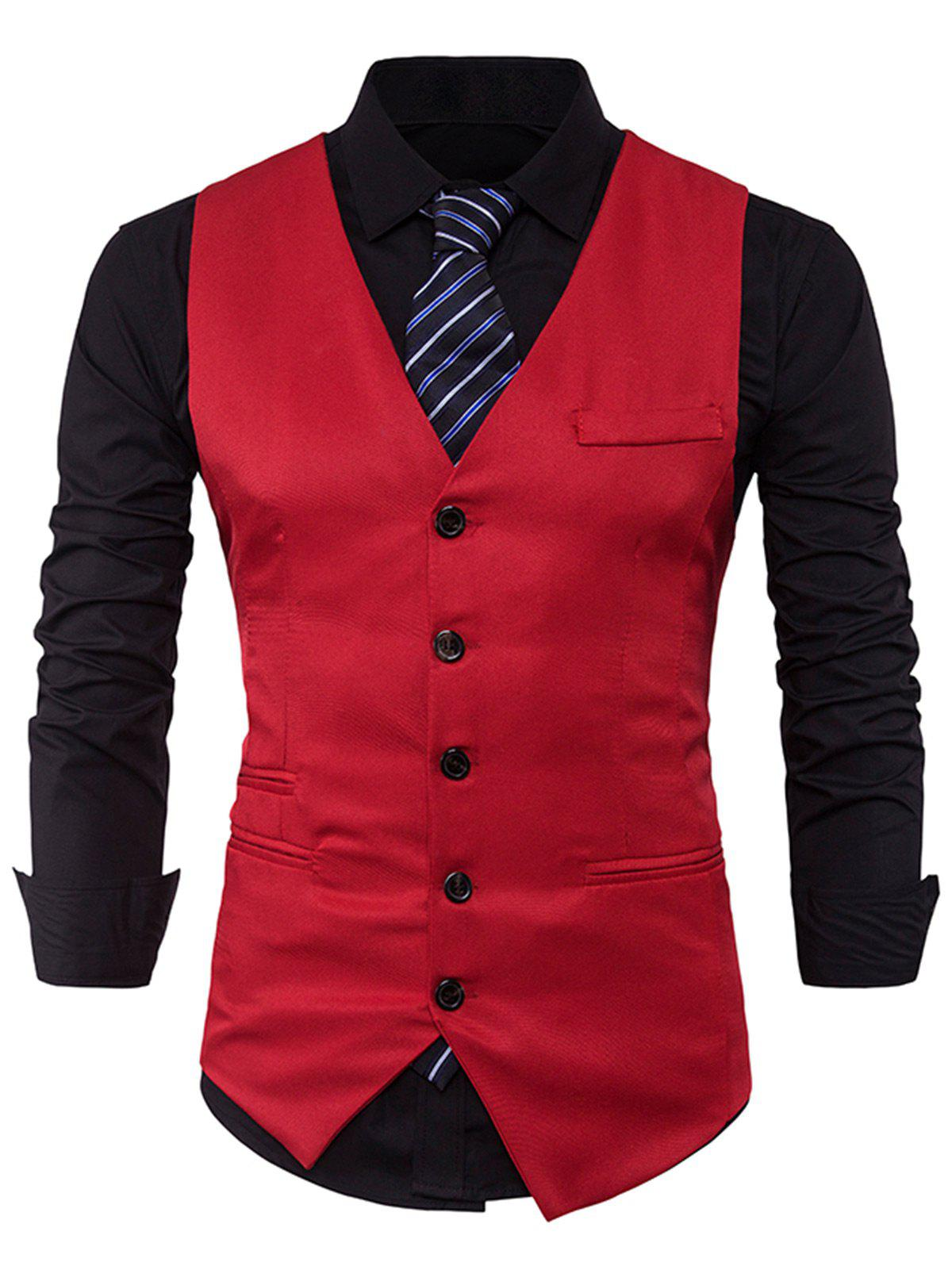Single Breasted V Neck Edging WaistcoatMEN<br><br>Size: L; Color: RED; Material: Cotton,Polyester; Style: Fashion; Shirt Length: Regular; Collar: V-Neck; Thickness: Standard; Closure Type: Single Breasted; Weight: 0.2500kg; Package Contents: 1 x Waistcoat;