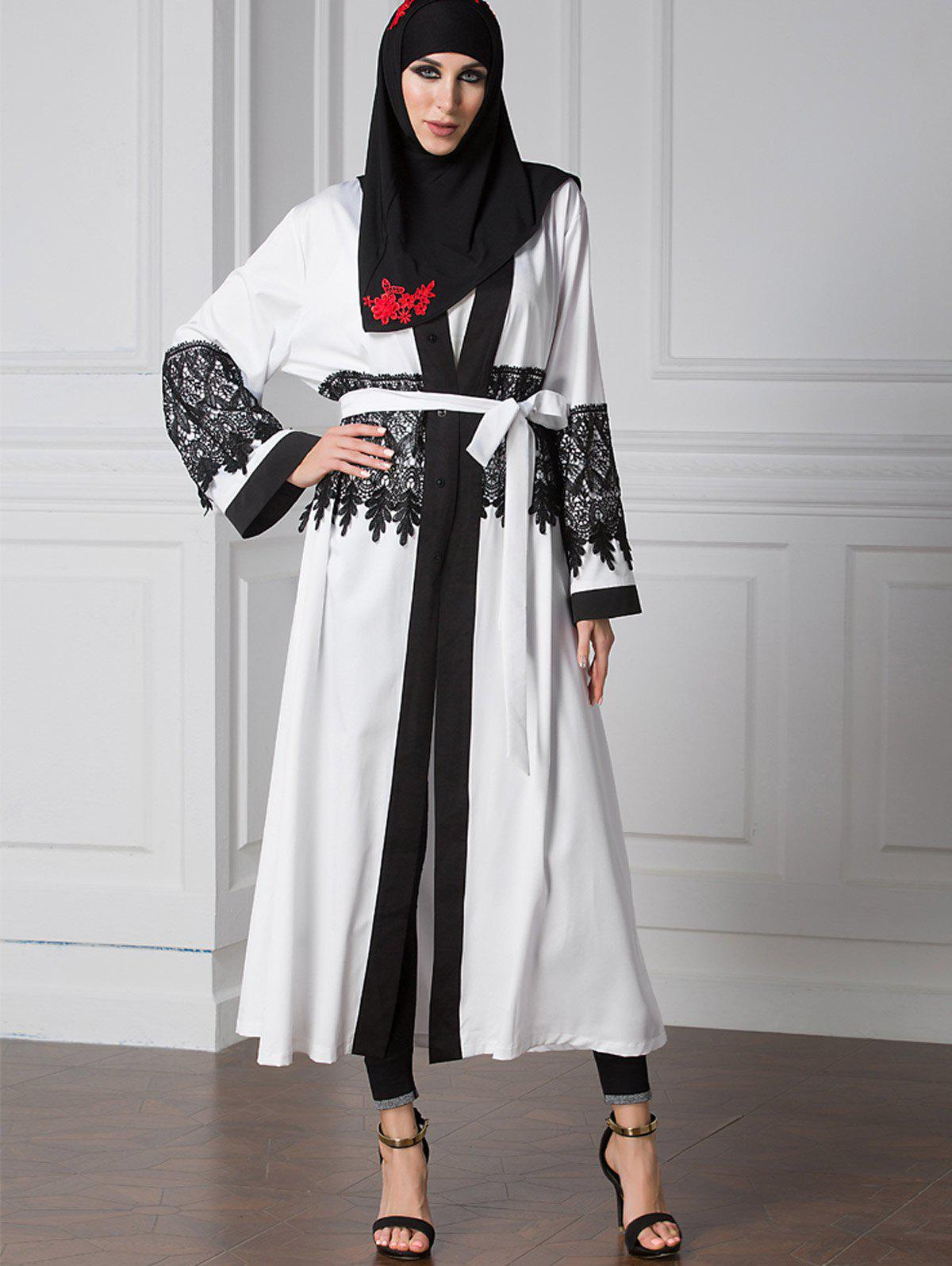 Hot Lace Trim Two Tone Belted Cardigan
