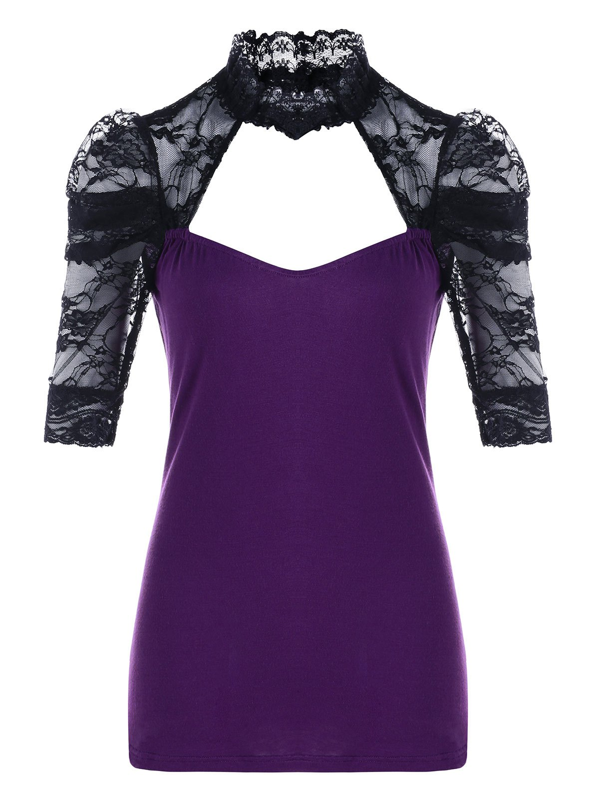 Cut Out Lace Insert TeeWOMEN<br><br>Size: L; Color: PURPLE; Material: Cotton,Spandex; Shirt Length: Regular; Sleeve Length: Short; Collar: Stand-Up Collar; Style: Fashion; Season: Fall,Spring; Pattern Type: Patchwork; Weight: 0.1700kg; Package Contents: 1 x T-shirt;