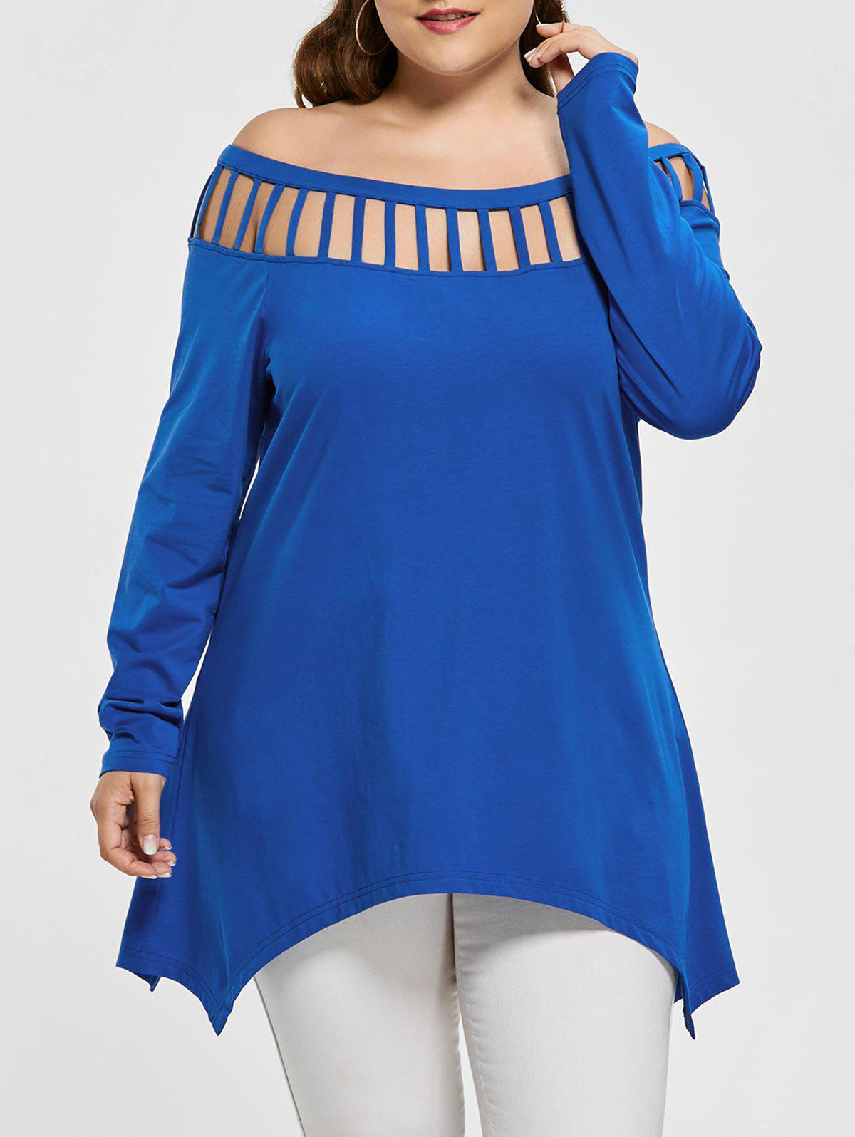 Store Long Sleeve Plus Size Cut Out Asymmetric Tee