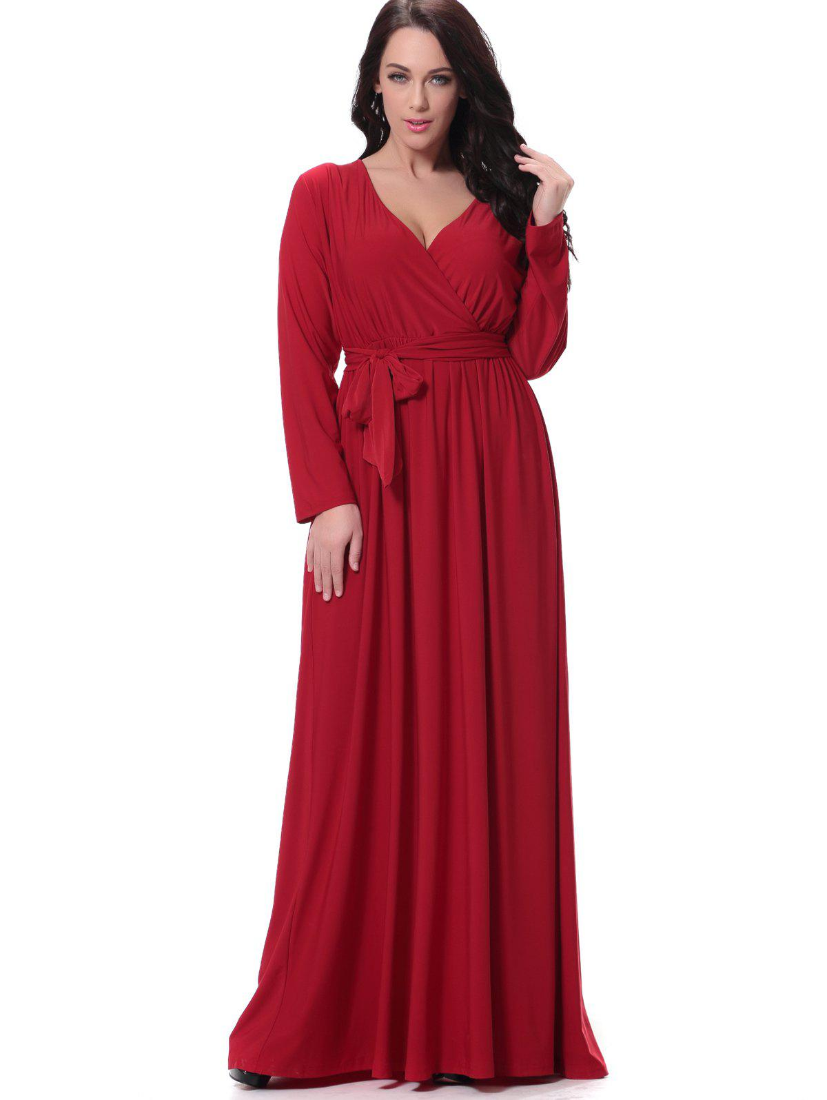 Store Belted Long Sleeve Formal Maxi Dress