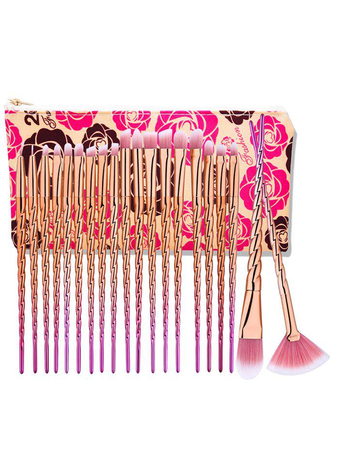 Store 20Pcs Unicorn Ombre Eye Makeup Brushes Set With Rose Bag